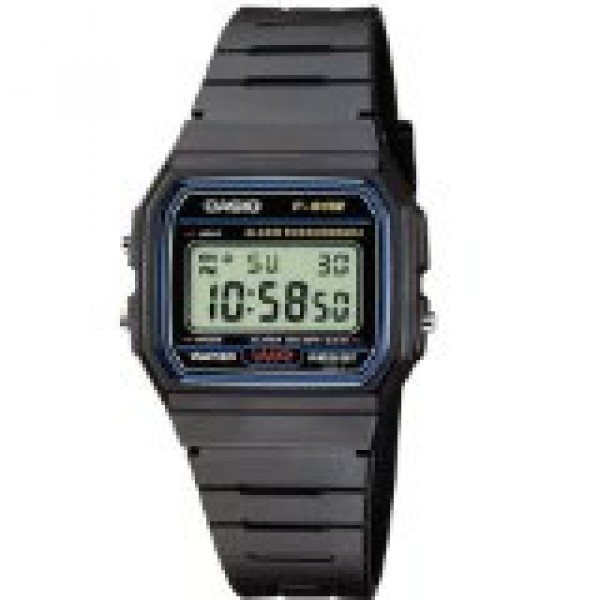 CASIO F-91W-1XY DIGITAL WATCH (BLACK RESIN STRAP)