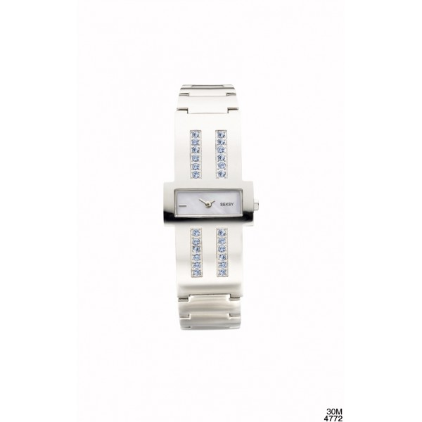 SEKSY CHROME WATCH BLUE CRYSTALS 4772